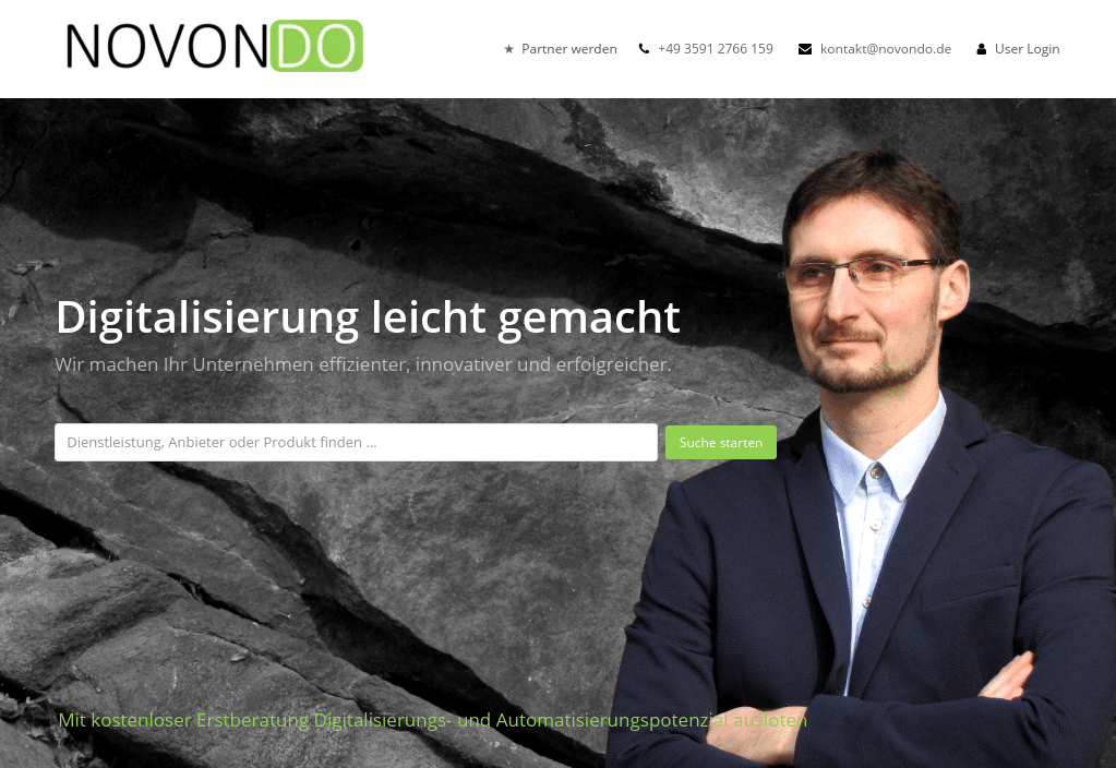Screenshot NOVONDO Nach Relaunch